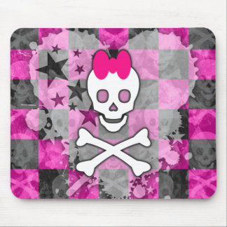 Girly Skull & Crossbones Mouse Pad