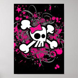 Girly Skull & Crossbones Poster