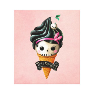 Girly Skull Ice Cream Cone Stretched Canvas Prints