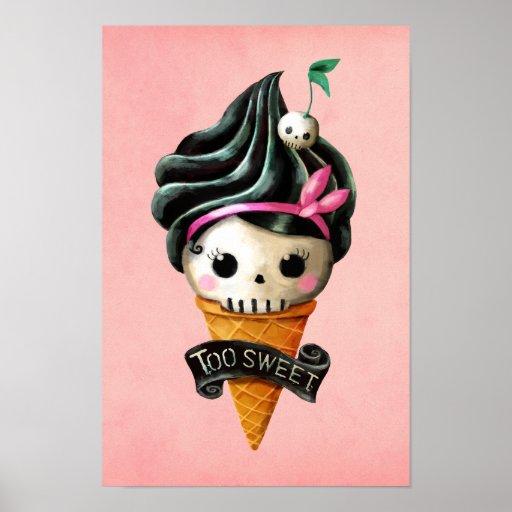 Girly Skull Ice Cream Cone Posters