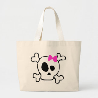 Girly skull large tote bag