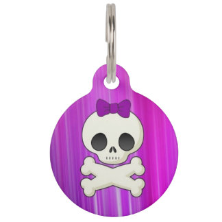 Girly Skull Pet ID Tag
