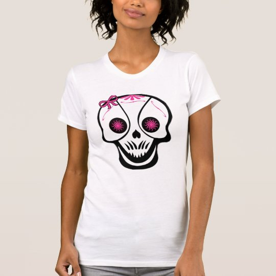 Girly Skull Pink Bow destroyed womens tshirt