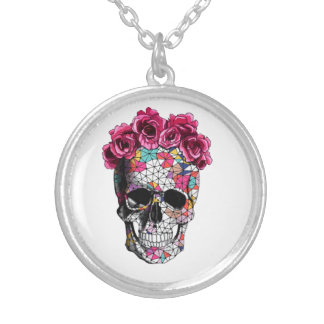 Girly Skull Silver Plated Necklace