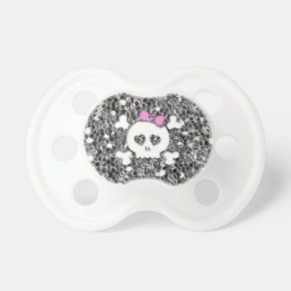 Girly Skull with Pink Bow on Silver Glitter Look Pacifier