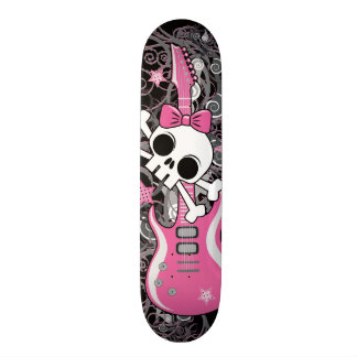 Girly Skull with Pink Guitar Skate Board