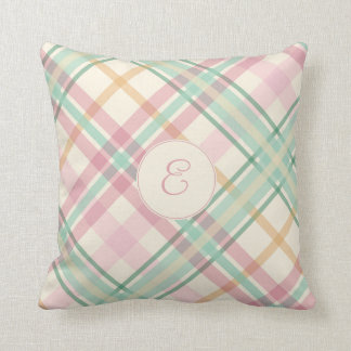 girly soft mint pink summery plaid her monogram throw pillow