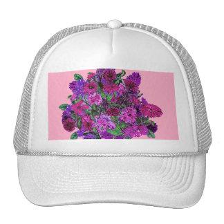Girly Soft Pink w Pretty Purple Flowers Hat Trucker Hat