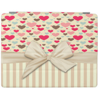 Girly Sophisticated,Striped,Bow,Hearts iPad Cover