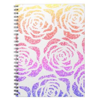 Girly Sparkle Rose Pattern Custom Spiral Notebook