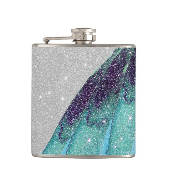 Girly Sparkly Teal Blue and Black Faux Glitter Hip Flask