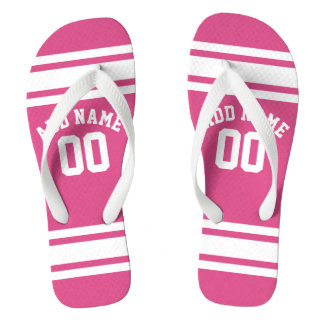 Girly Sports Jersey Custom Name Number Flip Flops