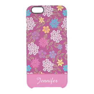 Girly Spring and Summer Wild Flowers, magenta name Clear iPhone 6/6S Case