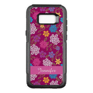 Girly Spring and Summer Wild Flowers, magenta name OtterBox Commuter Samsung Galaxy S8+ Case