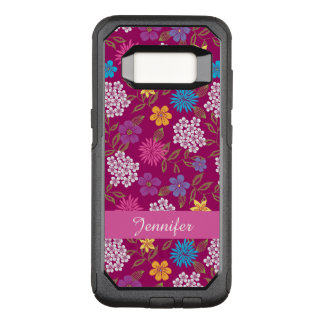Girly Spring and Summer Wild Flowers, magenta name OtterBox Commuter Samsung Galaxy S8 Case