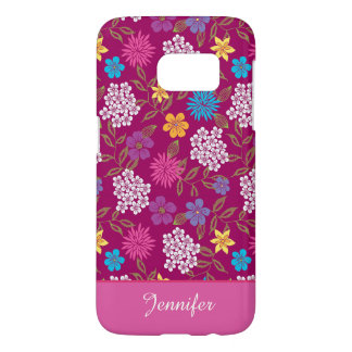 Girly Spring and Summer Wild Flowers, magenta name Samsung Galaxy S7 Case