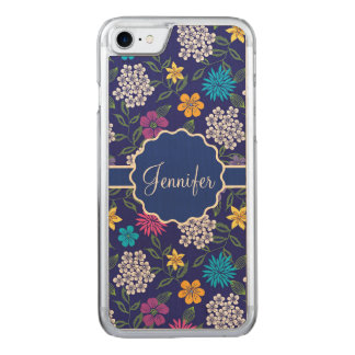 Girly Spring and Summer Wild Flowers, on blue name Carved iPhone 8/7 Case