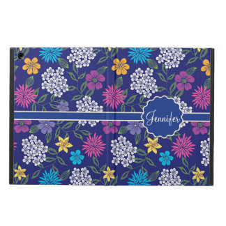 Girly Spring and Summer Wild Flowers, on blue name Case For iPad Air