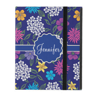 Girly Spring and Summer Wild Flowers, on blue name iPad Cover