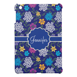 Girly Spring and Summer Wild Flowers, on blue name iPad Mini Case