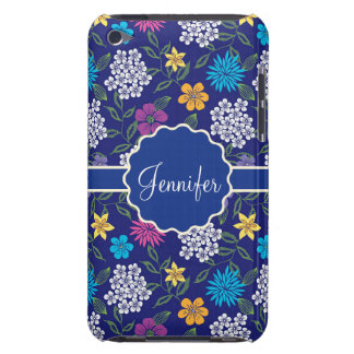 Girly Spring and Summer Wild Flowers, on blue name iPod Touch Covers