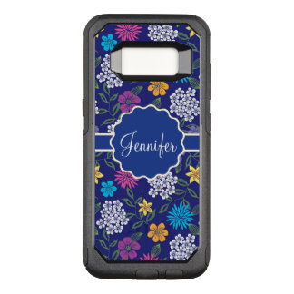 Girly Spring and Summer Wild Flowers, on blue name OtterBox Commuter Samsung Galaxy S8 Case
