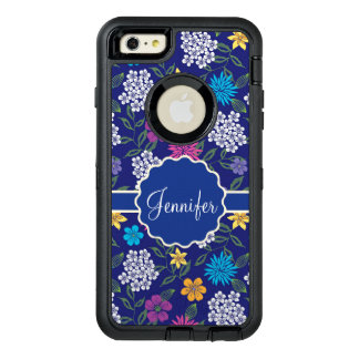 Girly Spring and Summer Wild Flowers, on blue name OtterBox Defender iPhone Case