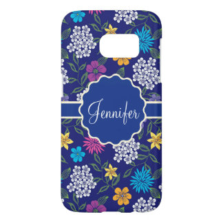 Girly Spring and Summer Wild Flowers, on blue name Samsung Galaxy S7 Case