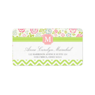 Girly Spring Floral Chevron Personalized Monogram Label