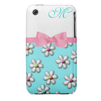 Girly Spring Flower Monogram Case-Mate iPhone 3 Cases