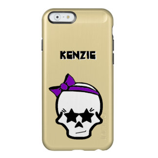 Girly Starry Eyed Skull with a Purple Bow Incipio Feather® Shine iPhone 6 Case