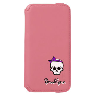 Girly Starry Eyed Skull with a Purple Bow Incipio Watson™ iPhone 6 Wallet Case