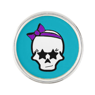 Girly Starry Eyed Skull with a Purple Bow Lapel Pin