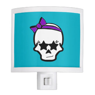 Girly Starry Eyed Skull with a Purple Bow Nite Light