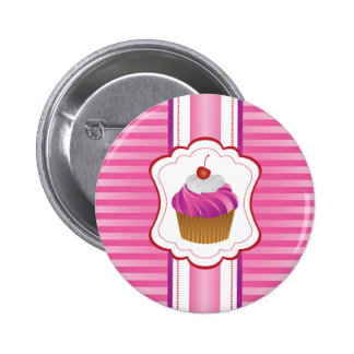 Girly stripes and Cupcakes Pinback Button