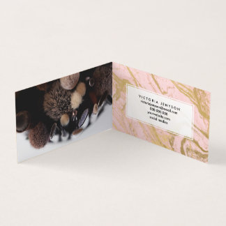 Girly stylish gold marble Millennial pink pattern Business Card