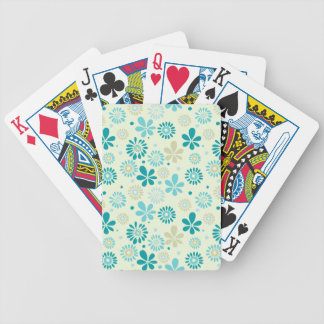 Girly Stylish Teal Blue Daisy Floral Pattern Bicycle Playing Cards