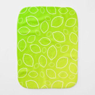 girly summer fresh green yellow lemon pattern burp cloth