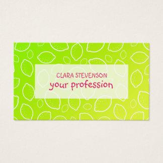 girly summer fresh green yellow lemon pattern business card