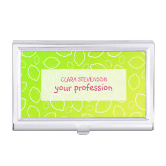 girly summer fresh green yellow lemon pattern business card holder