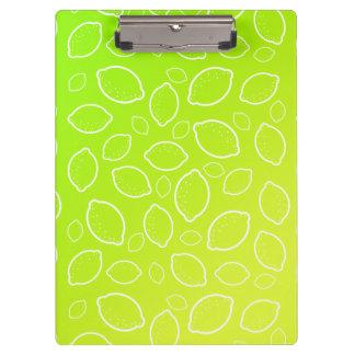 girly summer fresh green yellow lemon pattern clipboard