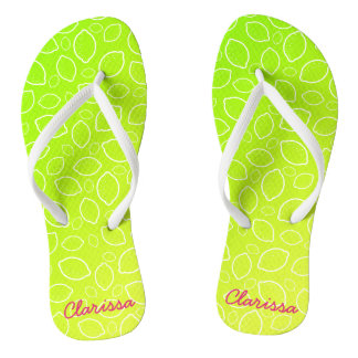girly summer fresh green yellow lemon pattern flip flops