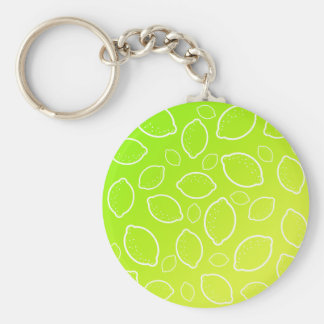 girly summer fresh green yellow lemon pattern keychain