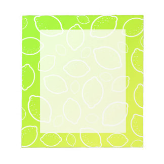 girly summer fresh green yellow lemon pattern notepad