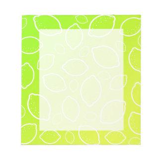 girly summer fresh green yellow lemon pattern notepad