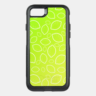 girly summer fresh green yellow lemon pattern OtterBox commuter iPhone 8/7 case