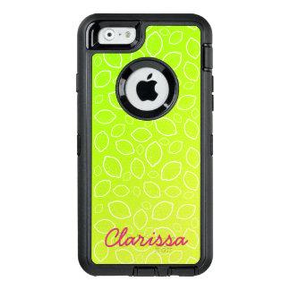 girly summer fresh green yellow lemon pattern OtterBox defender iPhone case