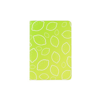 girly summer fresh green yellow lemon pattern passport holder