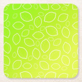 girly summer fresh green yellow lemon pattern square paper coaster