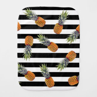 Girly Summer Pineapple Pattern | Black Striped Burp Cloth